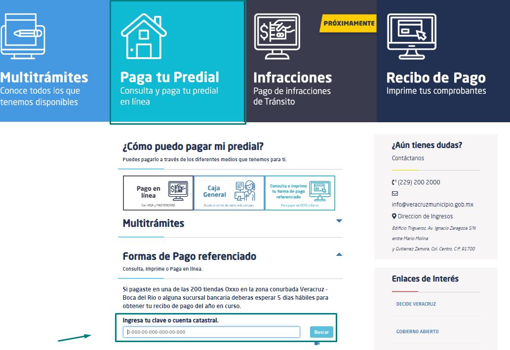 Consulta y paga adeudo predial en Veracruz